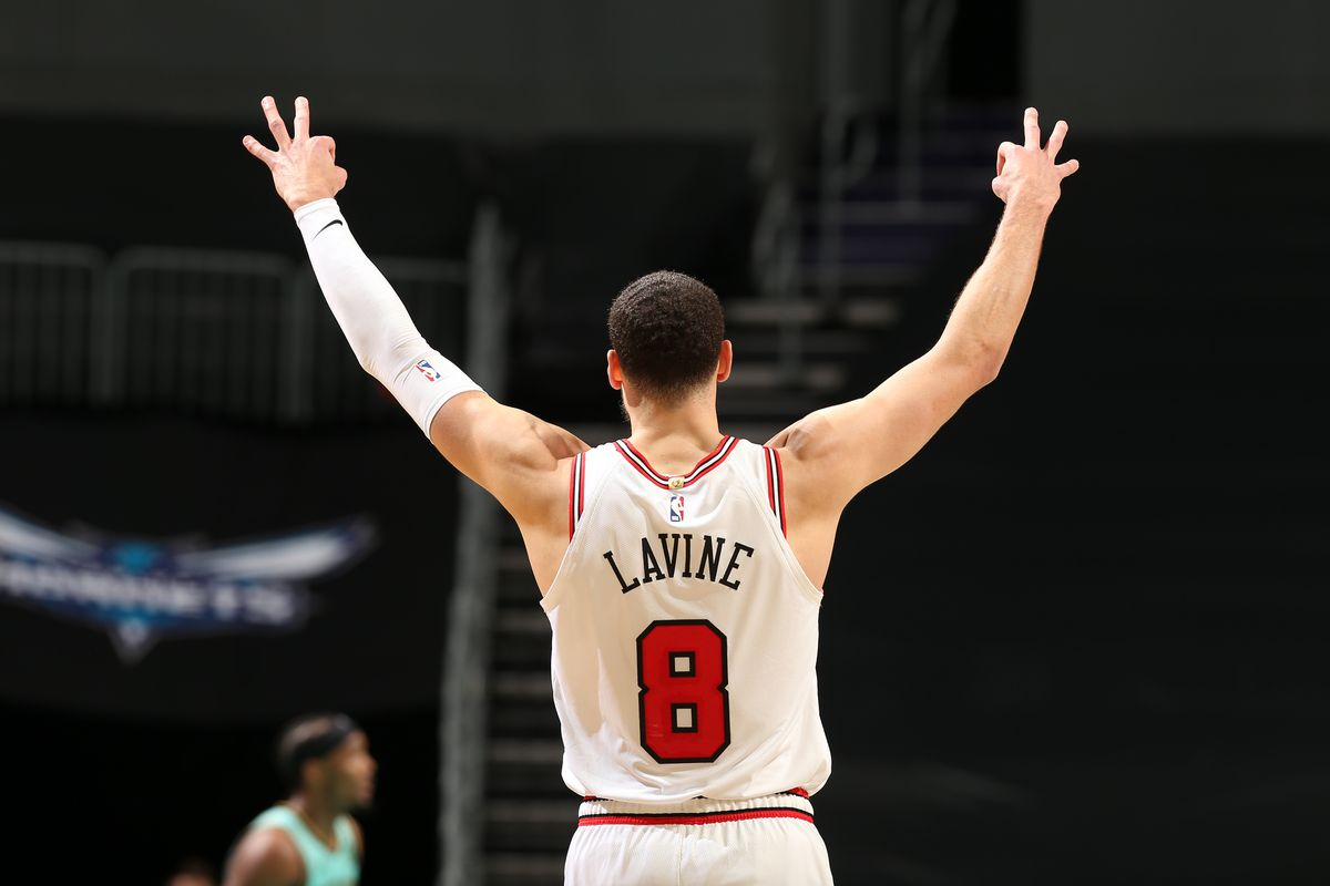 Zach LaVine of the Chicago Bulls celebrates during the game against the Charlotte Hornets on January 22, 2021 at Spectrum Center in Charlotte, North Carolina.