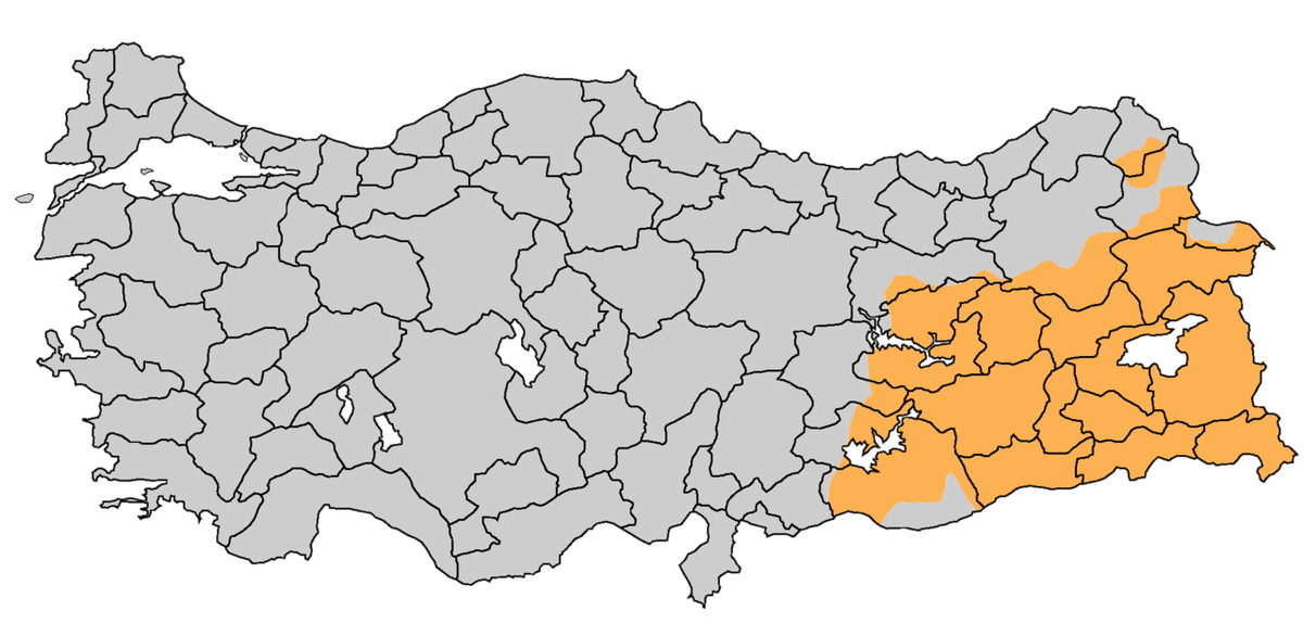 Turkey's Kurdish population is concentrated in the southeast