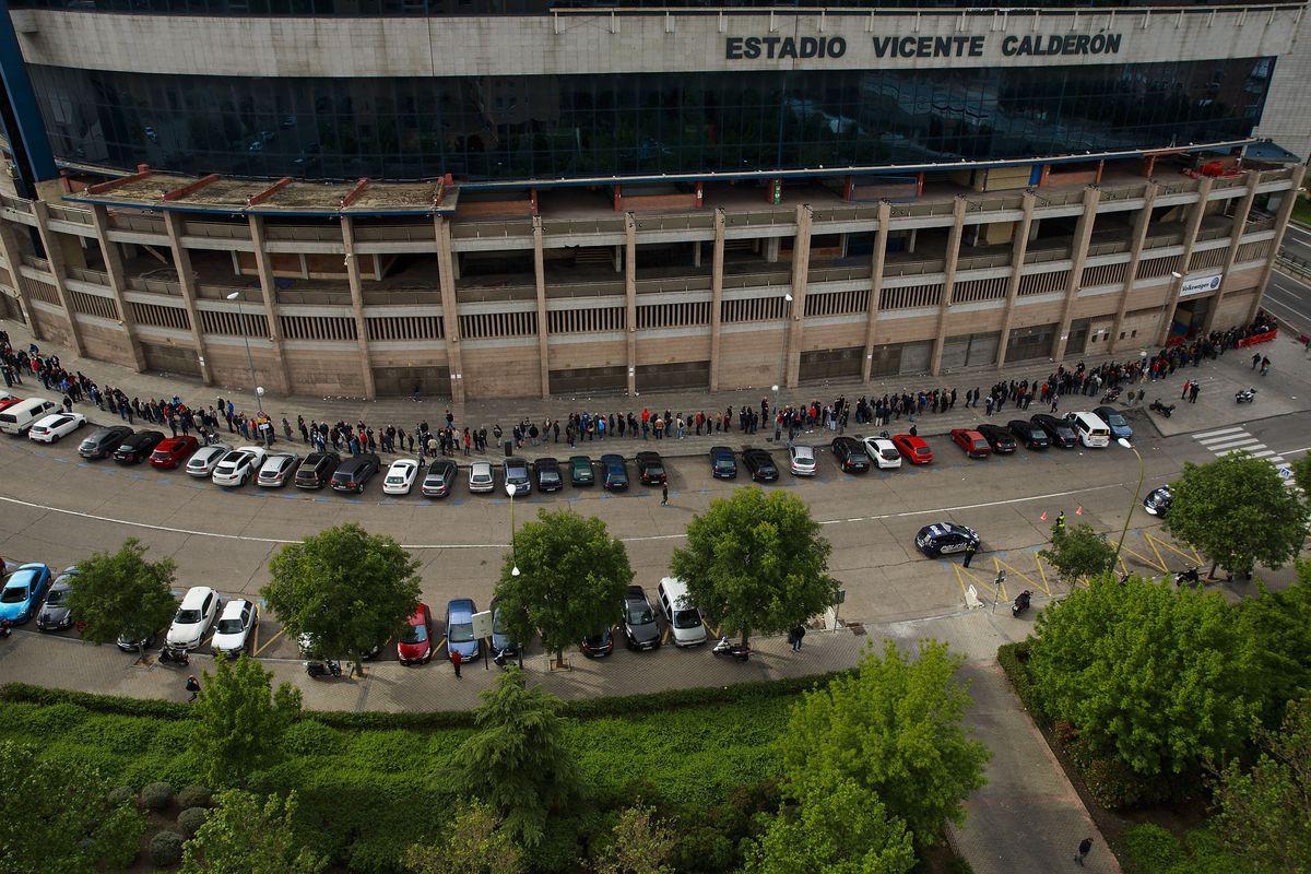 Atletico de Madrid Fans queue for UEFA Champions League Final Match Tickets