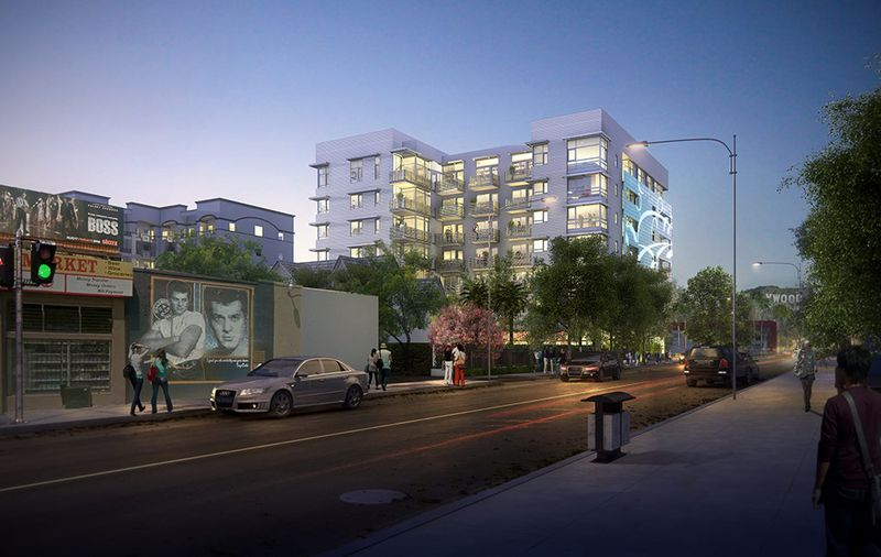 Rendering of Lombardi apartments at night