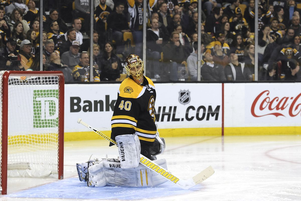 Rask poses with his defense last night