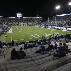 BYU fans watch the game in Provo on Saturday, Oct. 24, 2020.