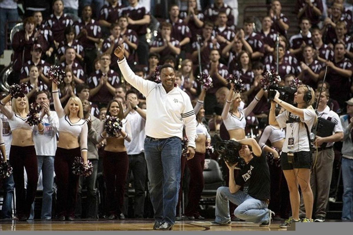 Feb 6 2012; College Station, TX, USA; Texas A&M Aggies head football coach Kevin Sumlin attends a basketball game against the Texas Longhorns at Reed Arena. Texas beat Texas A&M 70-68. Mandatory Credit: Brendan Maloney-US PRESSWIRE