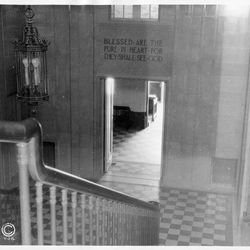 A view from the upper grand hall of the Mesa Arizona Temple at its completion in 1927. The project broke ground in 1923 and took over four years to complete. The dedication took place October 23–27, 1927.