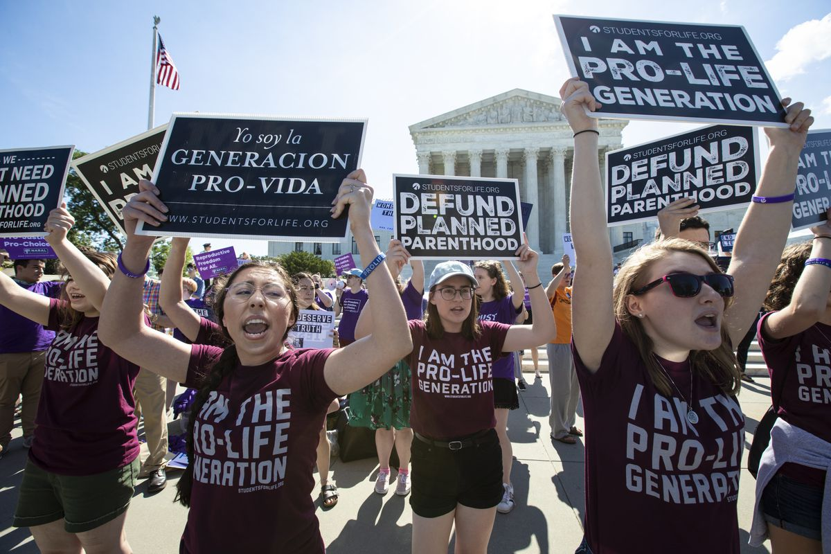 Pro-life advocates demonstrate in front of the Supreme Court in Washington