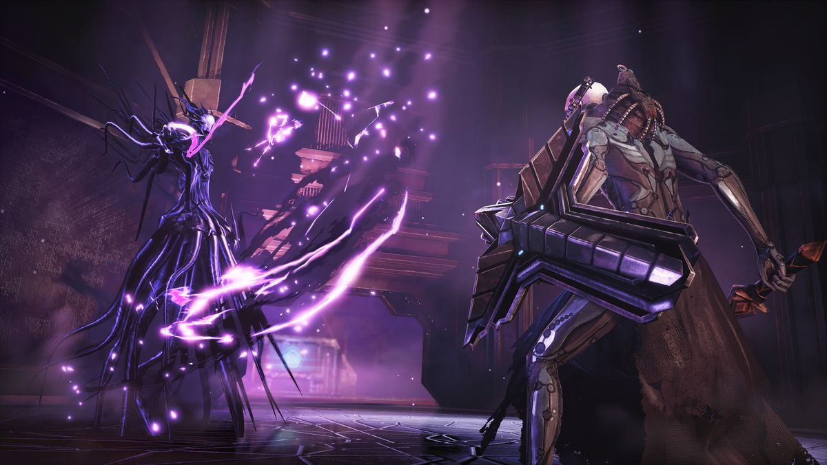 A battle against the first boss in Hellpoint