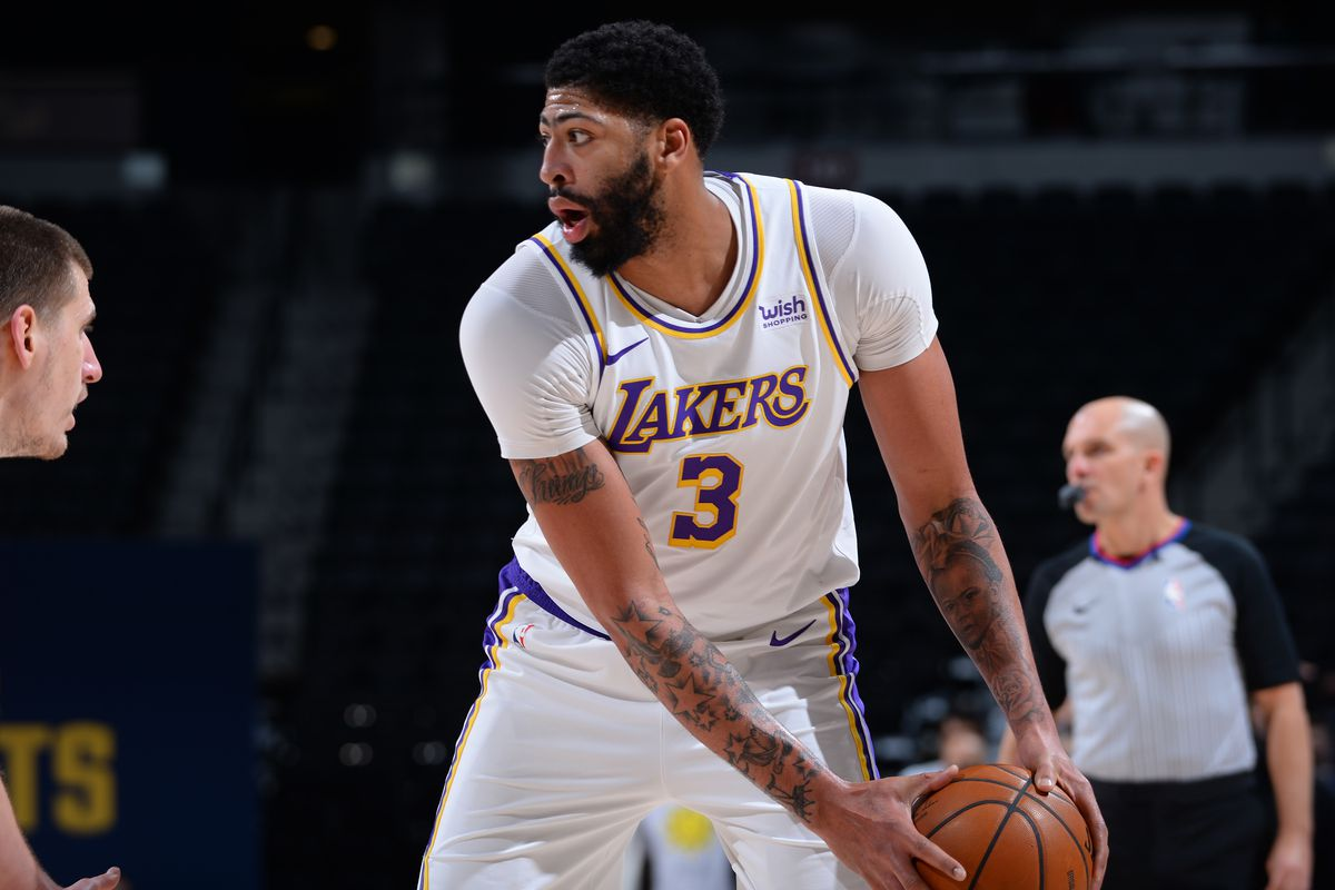 Anthony Davis of the Los Angeles Lakers looks on during the game against the Denver Nuggets on February 14, 2021 at the Ball Arena in Denver, Colorado.