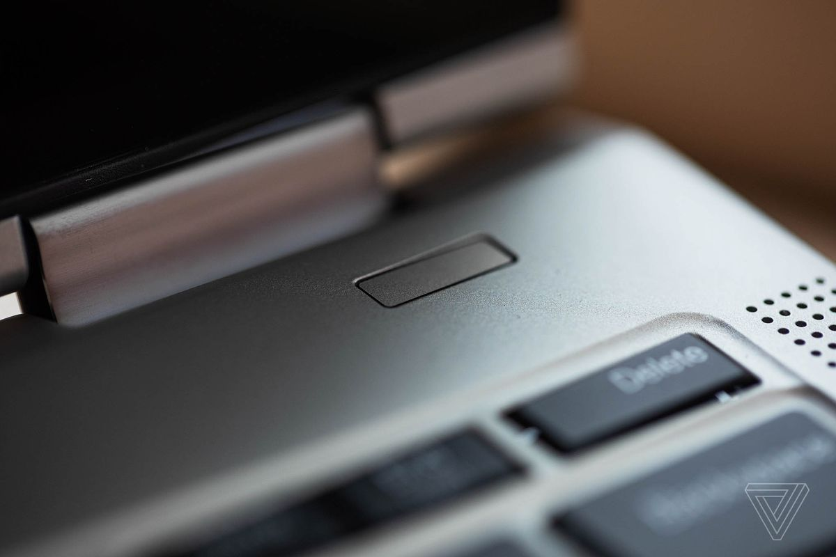 The fingerprint sensor on the Lenovo ThinkPad X1 Titanium Yoga.
