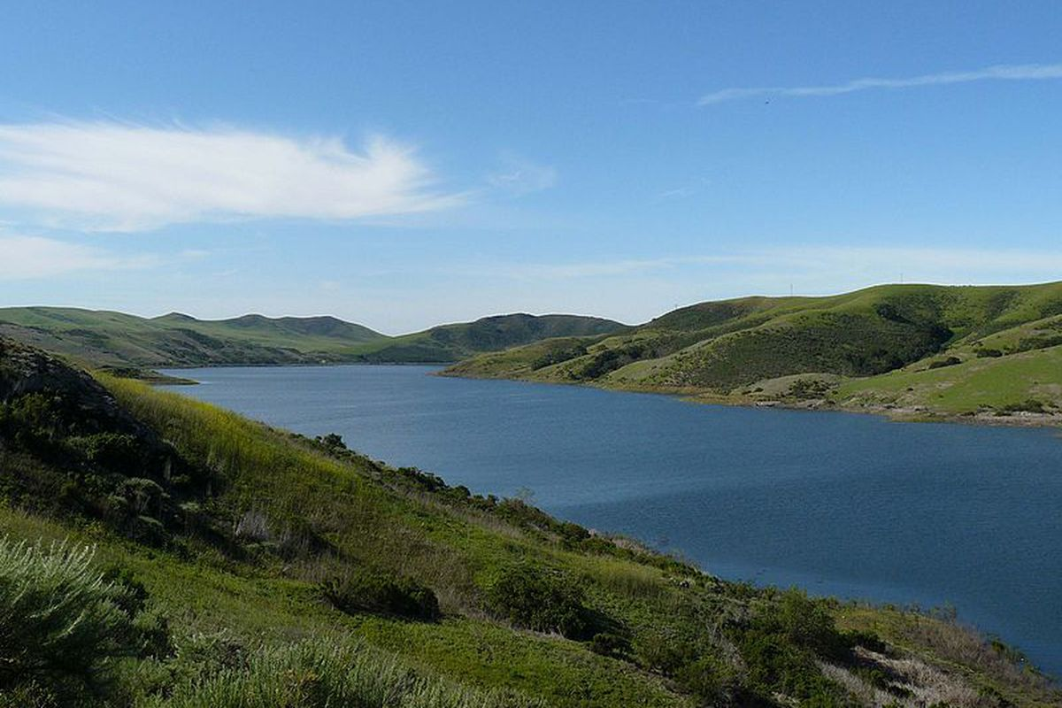 Green grass and blue waters at a California reservoir.