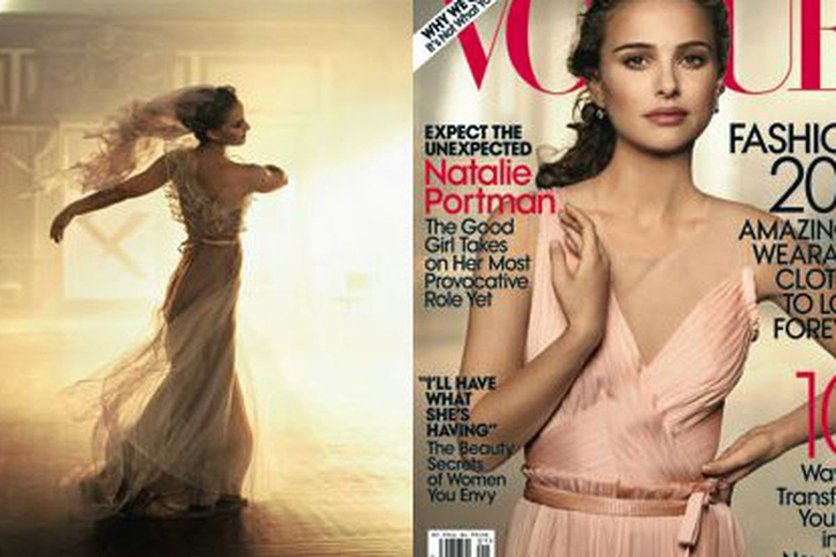 """Dancing as fast as she can. Image via <a href=""""http://fashionrules.com/2010/12/natalie-portman-swans-her-way-onto-the-cover-of-january-vogue/"""">Fashion Rules</a>."""