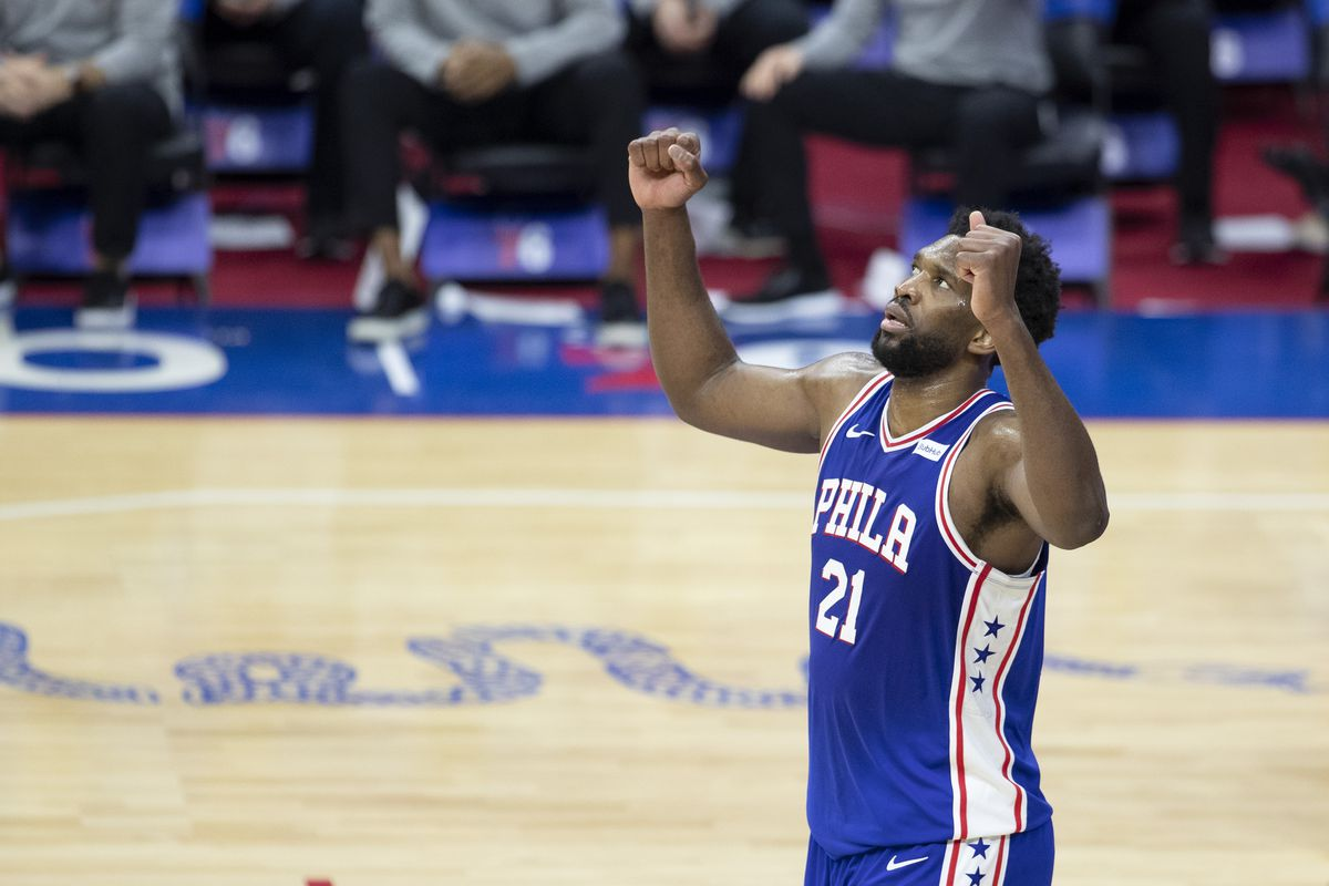 Joel Embiid of the Philadelphia 76ers reacts against the Chicago Bulls in the fourth quarter at Wells Fargo Center on February 19, 2021 in Philadelphia, Pennsylvania. The 76ers defeated the Bulls 112-105.