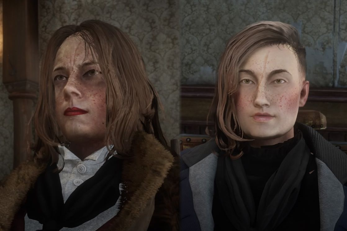 Red Dead Online - a player's before and after shots of their character