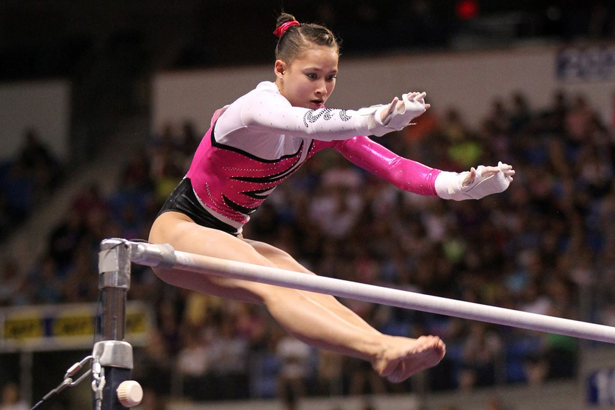 Jun 10, 2012; St. Louis, MO, USA; Sarah Finnegan (USA) competes on the uneven parallel bars during day two of the 2012 Visa Championships in womens gymnastics at Chaifetz Arena. Mandatory Credit: Stew Milne-US PRESSWIRE