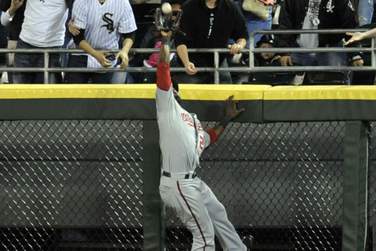 CHICAGO, IL - JUNE 24: Roger Bernadina # 2 of the Washington Nationals robs Adam Dunn of the Chicago White Sox of a 2-run homer in the sixth inning on June 24, 2011 at U.S. Cellular Field in Chicago, Illinois.  (Photo by David Banks/Getty Images)