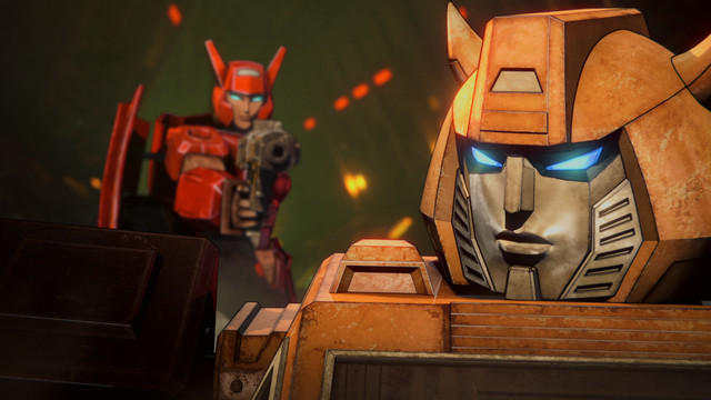 A female Decepticon points a gun at Bumblebee in Transformers: War for Cybertron