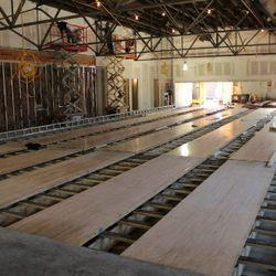 Six reclaimed bowling lanes in place, to be outfitted with old-school scoreboards, etc.
