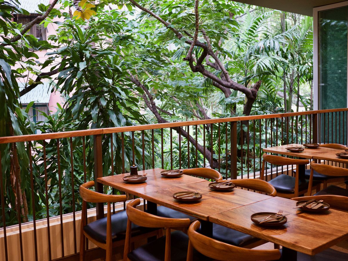 A six-top wooden table with small plates beside a railing and thick trees beyond