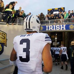 BYU's Kyle Van Noy walks out of the stadium after BYU lost to Notre Dame Saturday, Oct. 20, 2012 in South Bend 17-14.