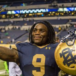 Jaylon Smith salutes the crowd after the big win.