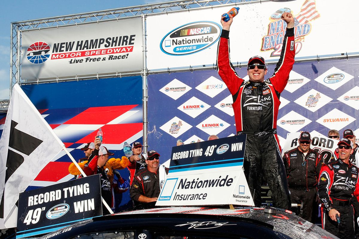 Kyle Busch celebrates in Victory Lane after winning the NASCAR Nationwide Series New England 200 at New Hampshire Motor Speedway.