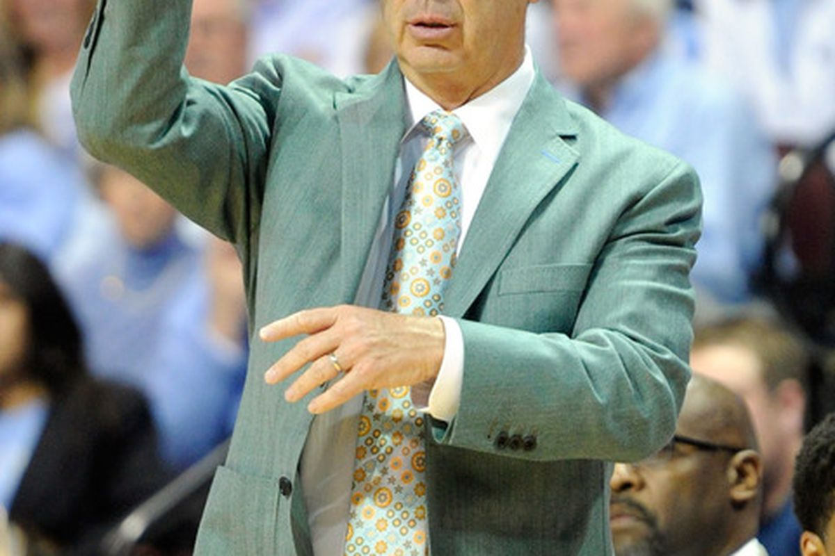 Roy Williams gestures to his players as they take on the South Carolina Gamecocks during the third round of the Continental Tire Las Vegas Invitational at the Orleans Arena.