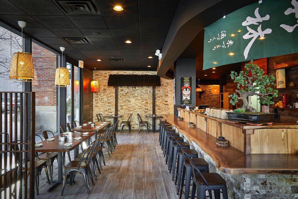 Bar interior with lots of natural wood.