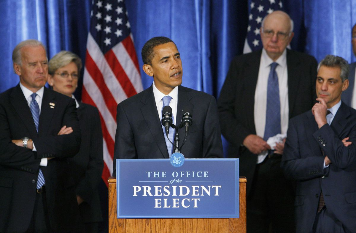 President-elect Barack Obama makes an opening statement on the economy during a press conference in Chicago, Friday, Nov. 7, 2008. Standing behind Obama are (L-R) Vice President-elect Biden, Michigan Governor Jennifer Granholm, Former FED Chairman Paul Volcker and newly appointed Chief of Staff Rahm Emanuel.