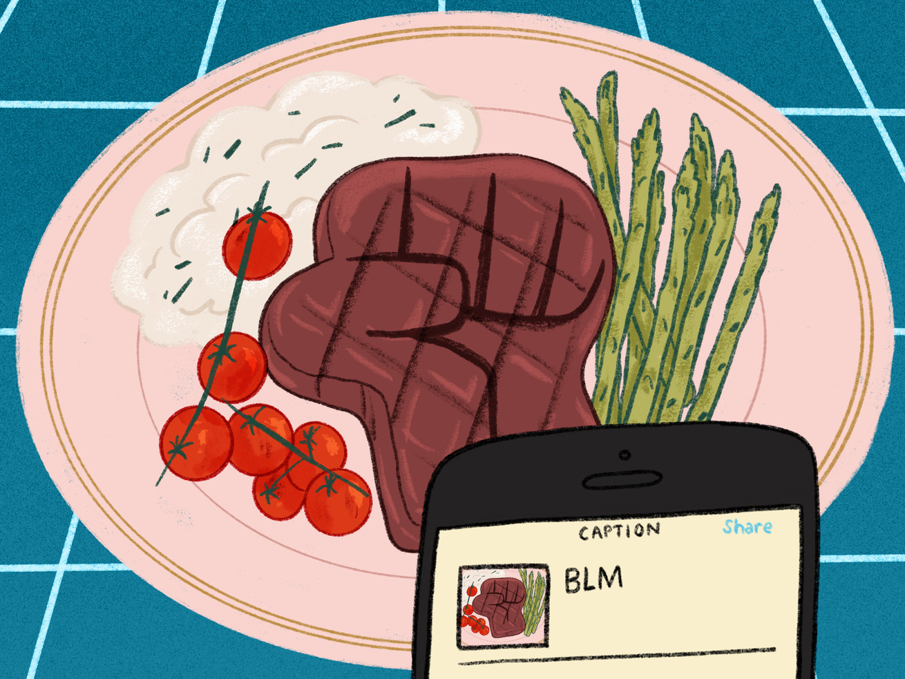"""Illustration of a steak on a plate; the steak is in the shape of a """"Black power"""" fist."""