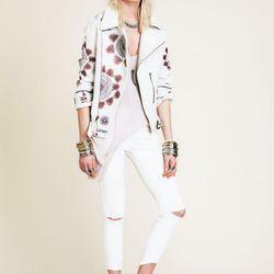 The New Romantics embroidered moto jacket, $298