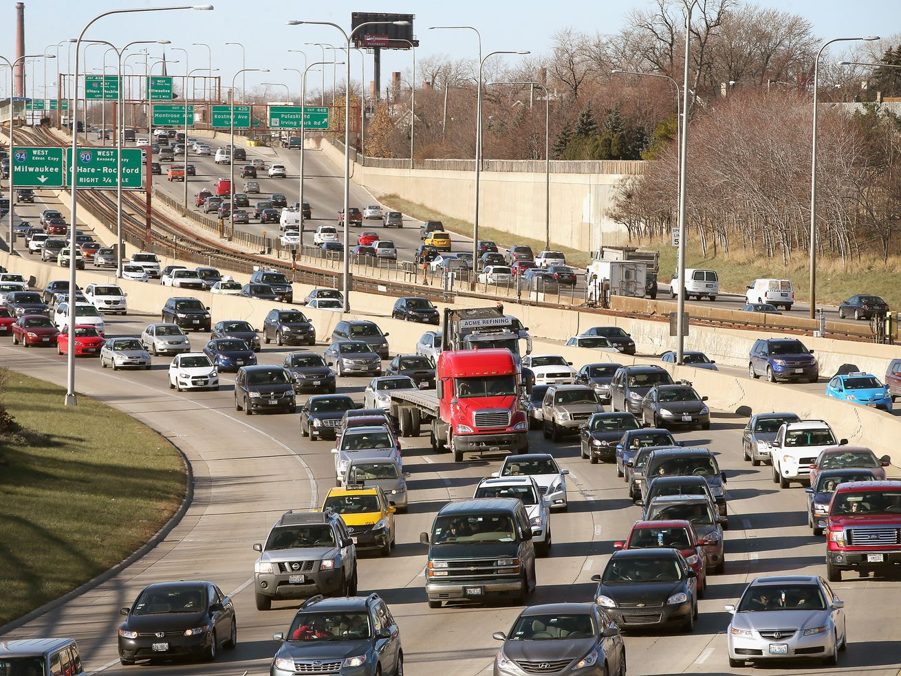 Traffic backs up on the Kennedy Expressway in 2013.