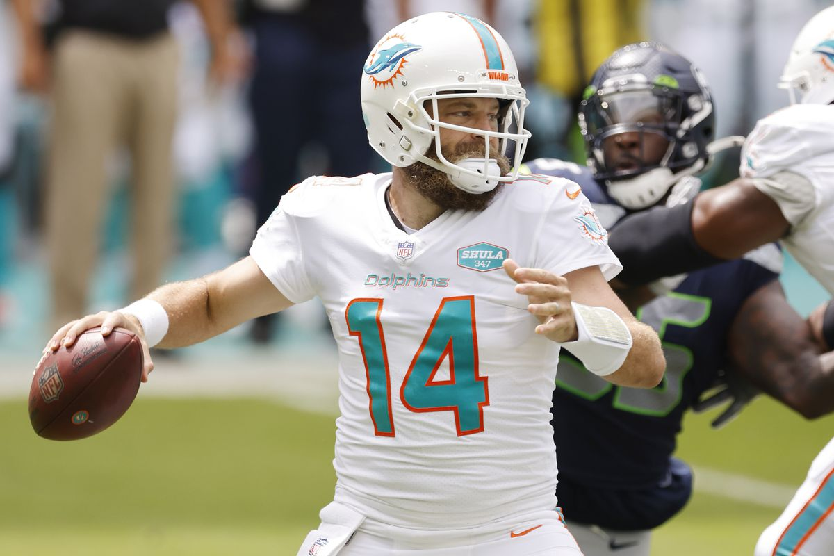 Ryan Fitzpatrick of the Miami Dolphins throws a pass against the Seattle Seahawks during the first quarter at Hard Rock Stadium on October 04, 2020 in Miami Gardens, Florida.