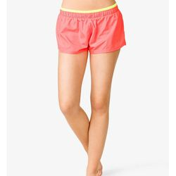 """<b>Forever 21</b> Contrast Neon Athletic Shorts in orange/yellow, <a href=""""http://www.forever21.com/Product/Product.aspx?BR=f21&Category=activewear_shorts-and-skirts&ProductID=2000048323&VariantID=#"""">$15.80</a>"""