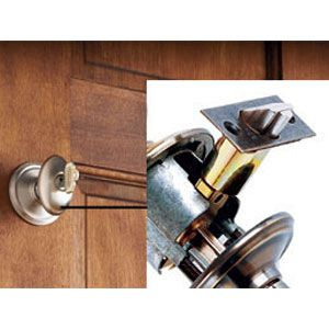 """<p><strong>Key-in-Knob</strong><br>The most basic lockset operates with a key on the outside knob or lever and a thumbturn or button on the inside. Technically, it's called a tubular lockset, after the 1-inch-diameter """"tube"""" that houses the spring-loaded latching mechanism (inset). Mass-market tubular locks are generally made of stamped brass; higher-end locks will be made from heavier, forged brass with a more solid feel and a harder-wearing finish. <br><strong>Shown:</strong> Schlage, Artisan"""