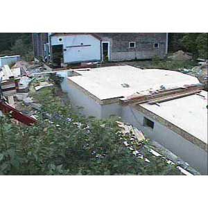 <p>July 16, 2004: I-joist floor panels form a blank slate on which to build the new ell connecting farmhouse to barn.</p>
