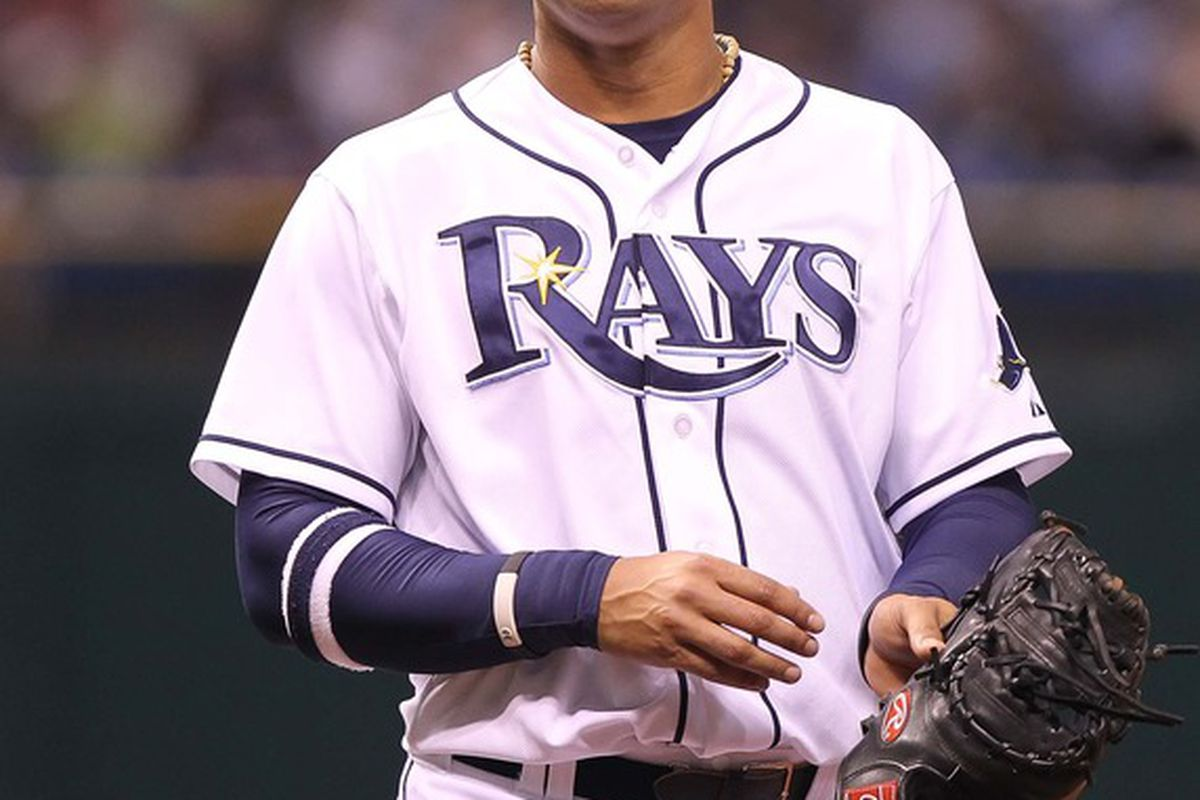 April 25, 2012; St. Petersburg, FL, USA; Tampa Bay Rays first baseman Carlos Pena (23) smiles against the Los Angeles Angels at Tropicana Field. Mandatory Credit: Kim Klement-US PRESSWIRE