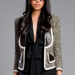 """<a href=""""http://www.tracyreese.com/p-729-tracy-reese-black-leather-trimmed-jacket.aspx"""" rel=""""nofollow"""">Tracy Reese Black Leather Trimmed Jacket</a>, $395"""