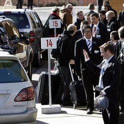 Elders and sisters say goodbye as they are dropped off at the curb of the Provo Missionary Training Center of The Church of Jesus Christ of Latter-day Saints in Provo, Utah, Wednesday, Feb. 2, 2011.