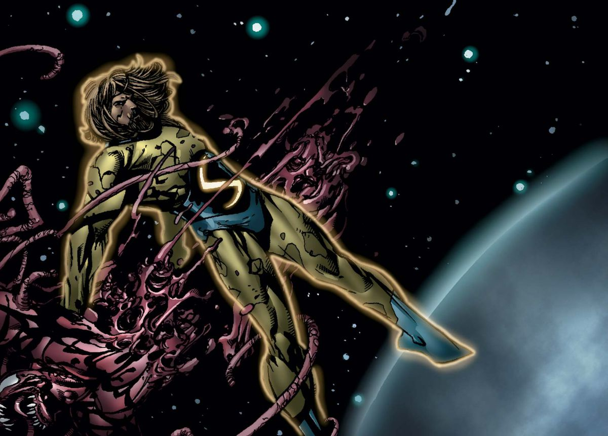 The Sentry tears Carnage in half while floating in orbit around the earth, in New Avengers #2, Marvel Comics (2004).