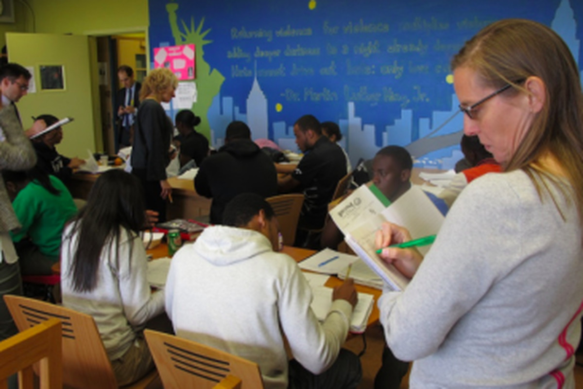 The city's Learning Partners program in action in 2014 at High School for Law and Finance. Carmen Fariña announced she is expanding the program in the 2015-16 school year.