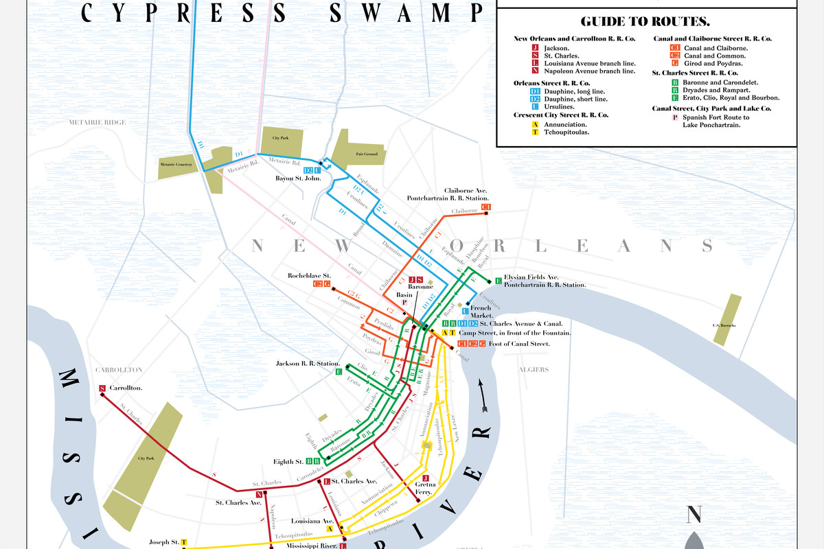 trolley new orleans map A Map By Artist Jake Berman Recreates New Orleans Circa 1875
