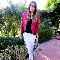 """Joann of <a href=""""http://www.lovefashionlivelife.com""""target=""""_blank""""> Love Fashion Live Life</a> is wearing a Lovers + Friends jacket, a <a href=""""http://www.31philliplim.com/shop/category/womens_accessories/pashli#pashli-medium-satchel-9""""target=""""_blank"""">3"""
