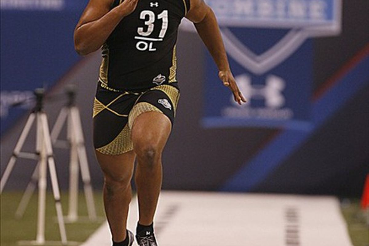 Feb 25, 2012; Indianapolis, IN, USA; Mississippi offensive lineman Bobby Massie runs the 40 yard dash during the NFL Combine at Lucas Oil Stadium. Mandatory Credit: Brian Spurlock-US PRESSWIRE