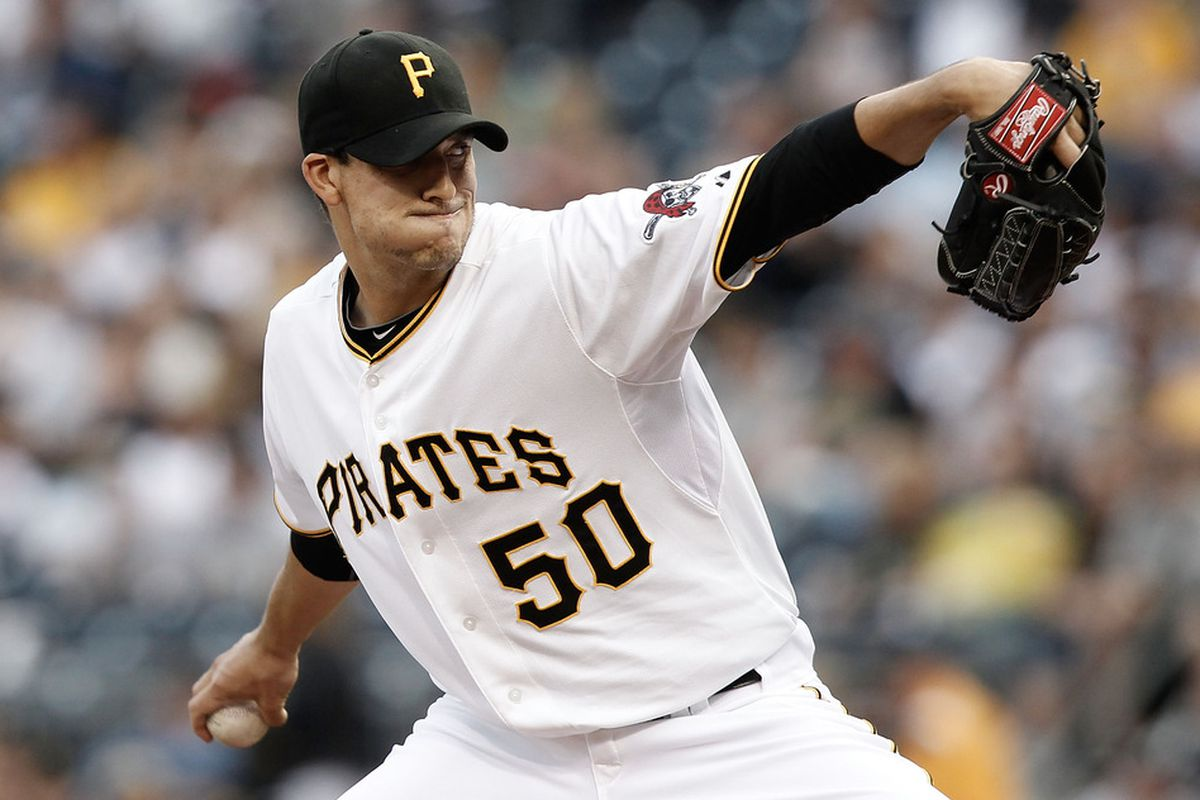 PITTSBURGH, PA - MAY 12:  Charlie Morton #50 of the Pittsburgh Pirates pitches against the Houston Astros during the game on May 12, 2012 at PNC Park in Pittsburgh, Pennsylvania.  (Photo by Jared Wickerham/Getty Images)