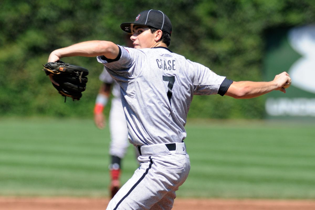 Dylan Cease throws in the 2013 Under Armour All-America Game at Wrigley Field. He's got a long way to go to get back to pitching there