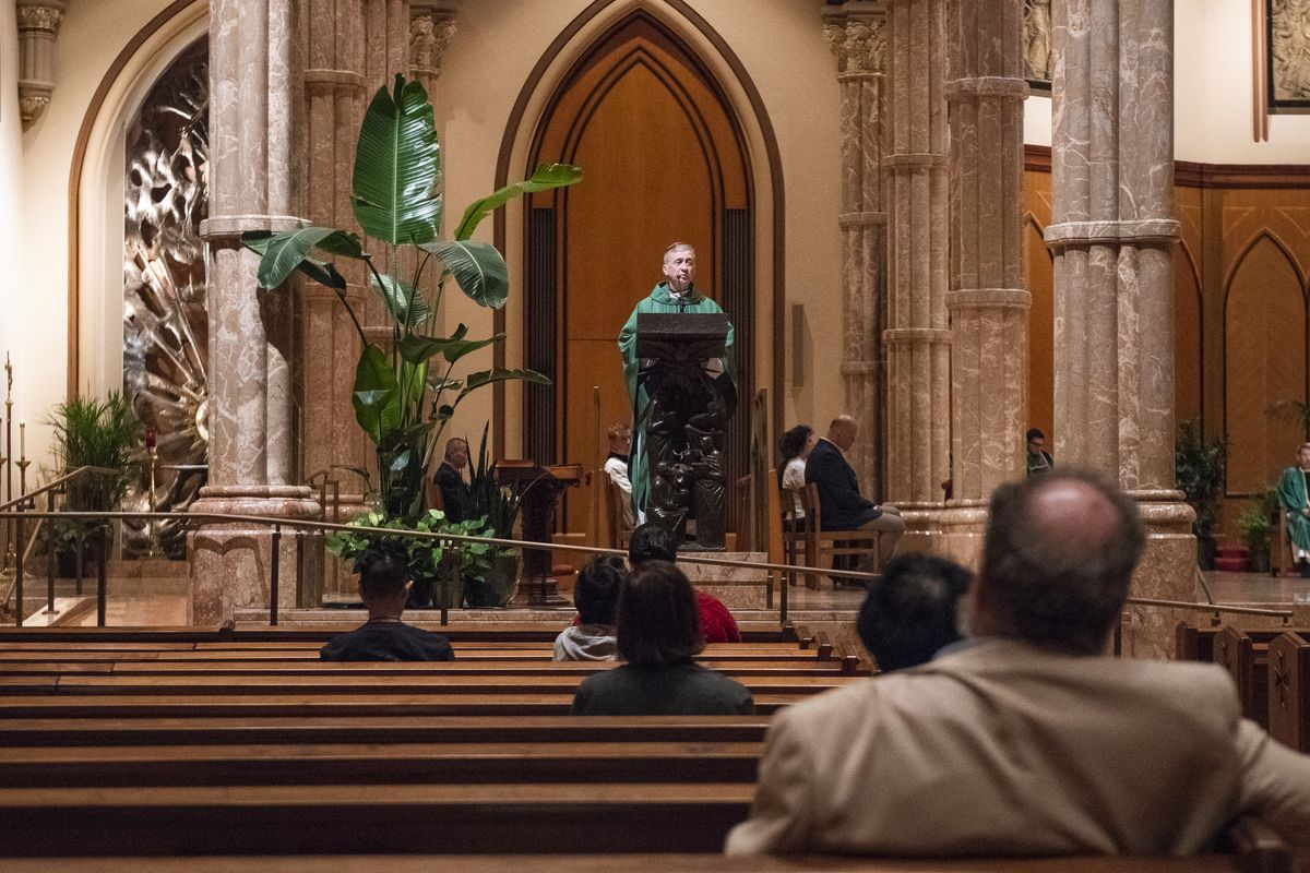 Cardinal Blase J. Cupich speaks at Holy Name Cathedral for a special mass in 2018.