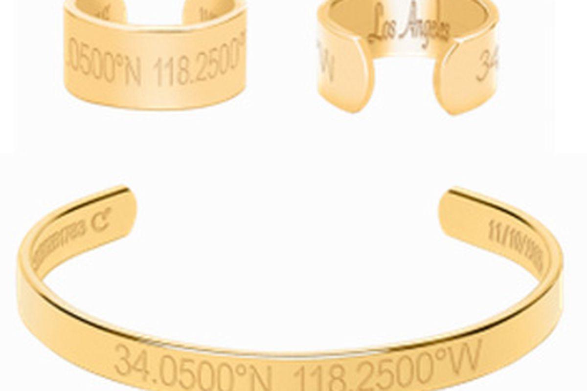 "Coordinates Collection Horizon ring, <a href=""http://www.coordinatescollection.com/compass-collection/horizon-ring"">$154</a>, and Legend bracelet, <a href=""http://www.coordinatescollection.com/compass-collection/legend-bracelet"">$204</a>."