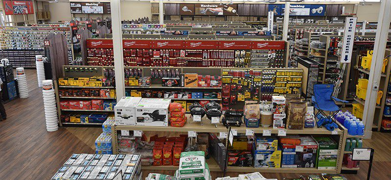 Aerial shot of rows of hardware store shelves.