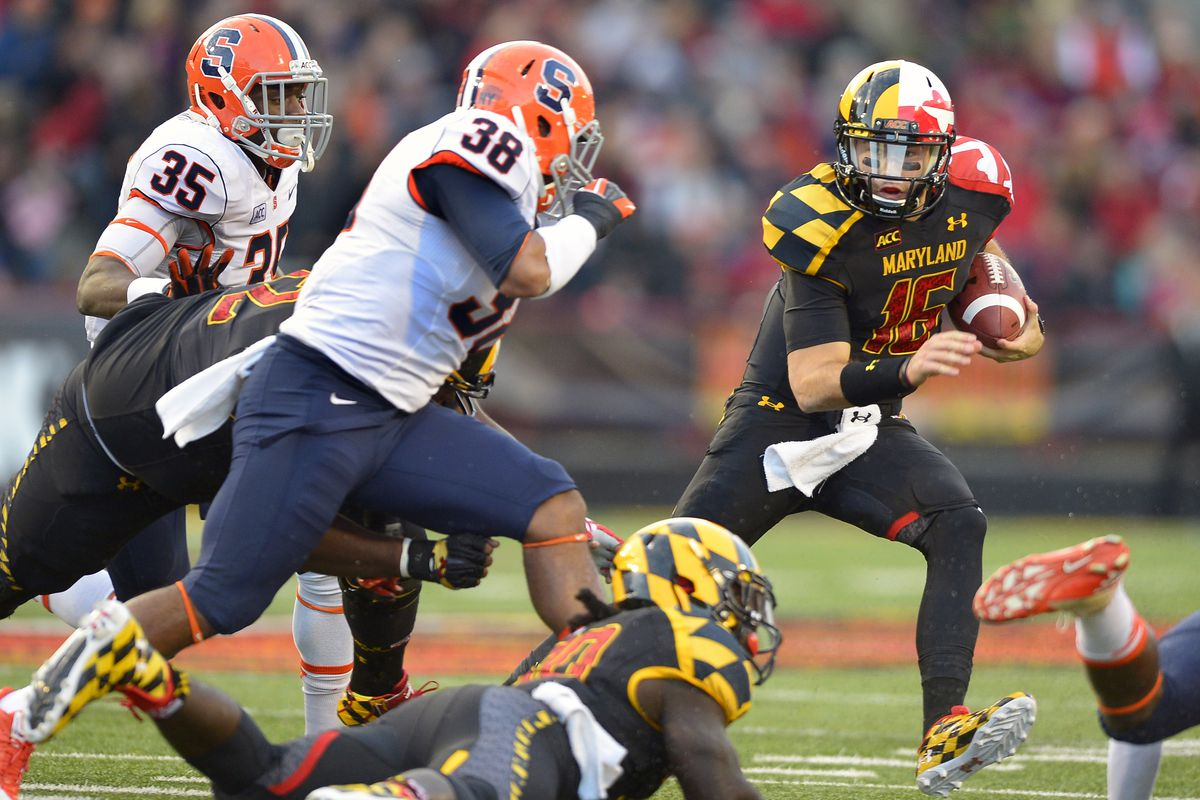 The Maryland Terrapins play the Syracuse Orange in college football