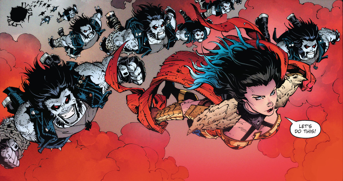 Wonder Woman leaps out of a floating fortress with an army of dozens of Lobos in Dark Nights: Death Metal #5, DC Comics (2020).