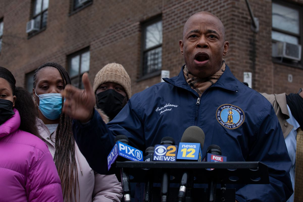 Brooklyn Borough President Eric Adams speaks at a rally for a NYCHA resident who fell down a flight of stairs after an elevator was broken at the Webster Houses, Jan. 5, 2021.